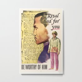 Vintage poster - Rizal died for you Metal Print