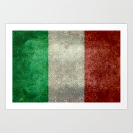Flag of Italy, worn grungy style Art Print