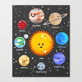 Solar system Kawaii style Canvas Print