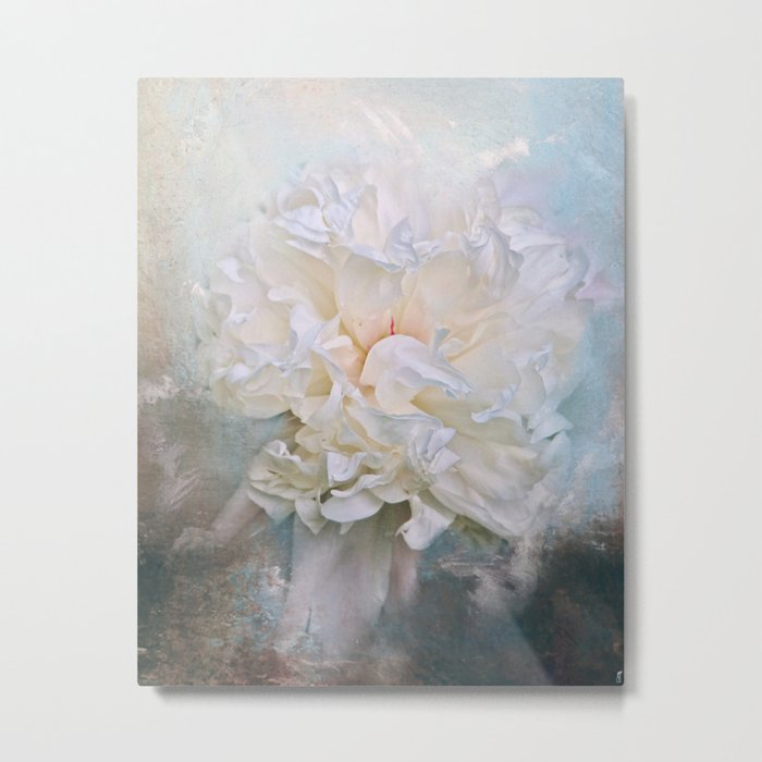 Abstract Peony in Blue Metal Print