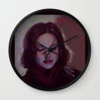 regina mills Wall Clocks featuring Regina by LindaMarieAnson