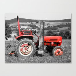 Red old tractor Canvas Print