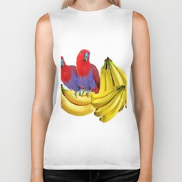 FANCY COLORED RED TROPICAL BIRDS & BANANAS Biker Tank