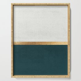 Deep Green, Gold and White Color Block Serving Tray