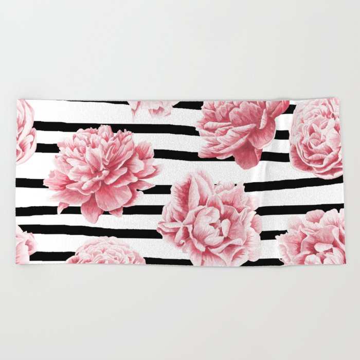 Simply Drawn Stripes and Roses Beach Towel