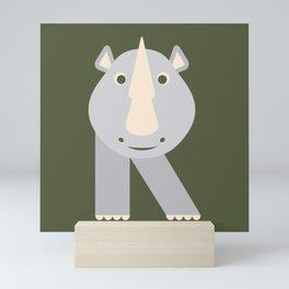 Letter R // Animal Alphabet // Rhino Monogram Mini Art Print