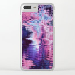 Violet Abstract Glitch effect Clear iPhone Case