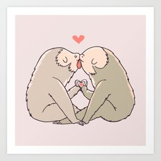 Sloth Kisses Art Print