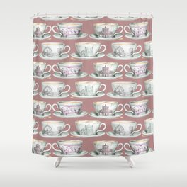 Florence coffee cup print Shower Curtain