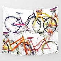 bikes Wall Tapestries featuring bikes by takmaj