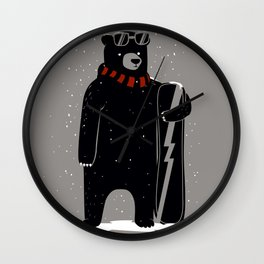 Bear on snowboard Wall Clock