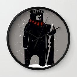 Bear on snowboard Wall Clock