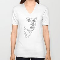 no face V-neck T-shirts featuring face by gazonula