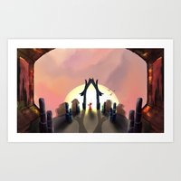 sunset shadows  Art Print