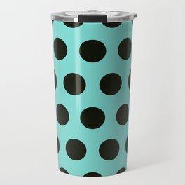 Medium Black Dots on Aqua Travel Mug