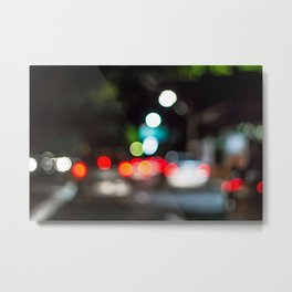 Night traffic lights in the city Metal Print