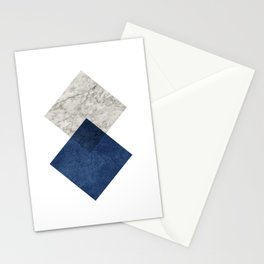 Marble blue navy diamond Stationery Cards