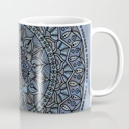 Circle of Life Mandala full color on blue swirl Coffee Mug