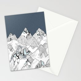 At night in the mountains Stationery Cards
