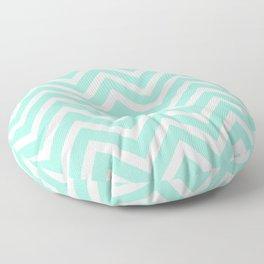 Chevron Stripes : Seafoam Green & White Floor Pillow