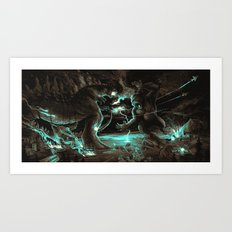 Godzilla vs Kingkong Brown Blue  Art Print