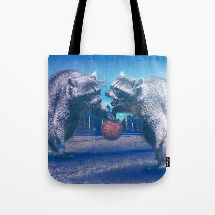 Racoon Basketball Game Tote Bag