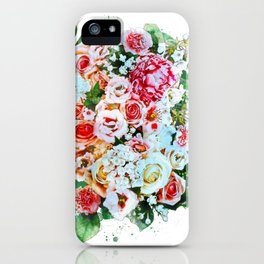 Rose Flower Bouquet Watercolor iPhone Case