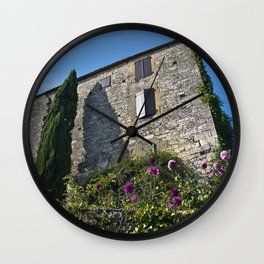 Little French village with a Medieval Castle Wall Clock