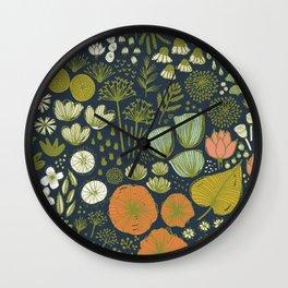 Botanical Sketchbook M+M Navy by Friztin Wall Clock