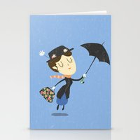 mary poppins Stationery Cards featuring Mary Poppins by Rod Perich
