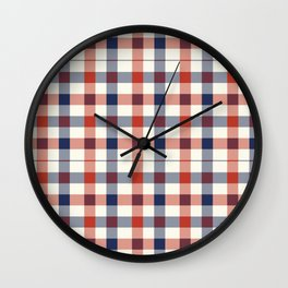 Plaid Red White And Blue Lumberjack Flannel Wall Clock