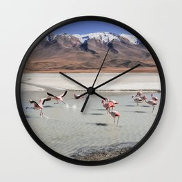 Flamingos - Landscape - Bolivia - Lagoons - Birds - Mountain. Little sweet moments. Wall Clock