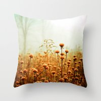 hello Throw Pillows featuring Daybreak in the Meadow by Olivia Joy StClaire