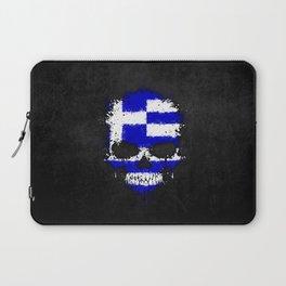 Flag of Greece on a Chaotic Splatter Skull Laptop Sleeve