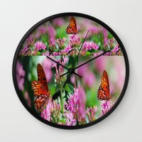 wedding Wall Clocks featuring Wedding Butterfly by BeachStudio