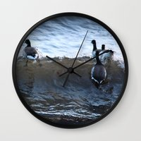ducks Wall Clocks featuring Ducks by Alex Dodds