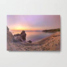 The sunset at the beach Agia Eleni of Skiathos island, Greece Metal Print