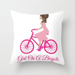Girl On A Bicycle Throw Pillow