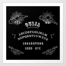 Ouija Board White on Black Art Print