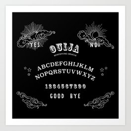 Ouija Board White on Black Art Print