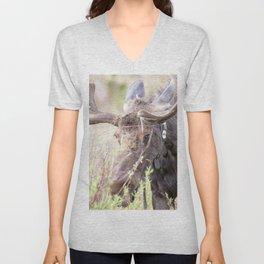 Watercolor Moose Bull 11, Old Beaver Ponds, RMNP, Colorado, Wide Brim Unisex V-Neck