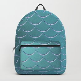 Minimalist Fish Scale Pattern in Iridescent Blue- Green 17 Backpack