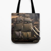 sailing Tote Bags featuring Sailing by Kristiana Art Prints