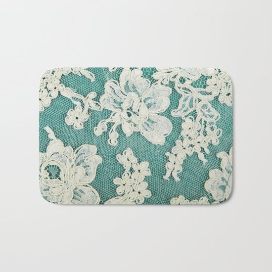 white lace - photo of vintage white lace Bath Mat