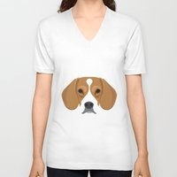 beagle V-neck T-shirts featuring Beagle by threeblackdots
