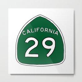 Hand Drawn Green California 29 Highway Sign Napa Valley Metal Print