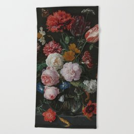 Still life with flowers in a glass vase, Jan Davidsz. de Heem, 1650 - 1683 Beach Towel