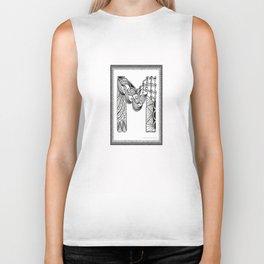 Zentangle M Monogram Alphabet Initials Biker Tank