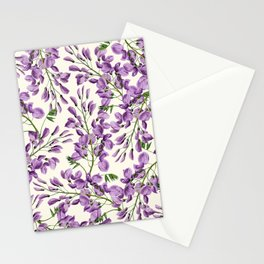 Boho forest green lavender lilac wisteria floral pattern Stationery Cards
