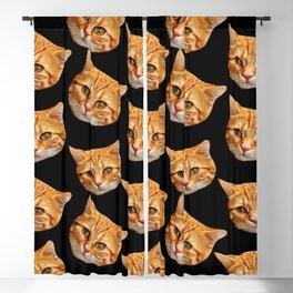 cute black and orange cat pattern Blackout Curtain